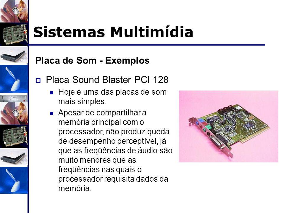 Sistemas Multimídia Placa de Som - Exemplos  Placa Sound Blaster PCI 128 Hoje é uma das placas de som mais simples. Apesar de compartilhar a memória