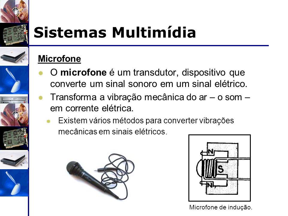 Microfone  O microfone é um transdutor, dispositivo que converte um sinal sonoro em um sinal elétrico.  Transforma a vibração mecânica do ar – o som