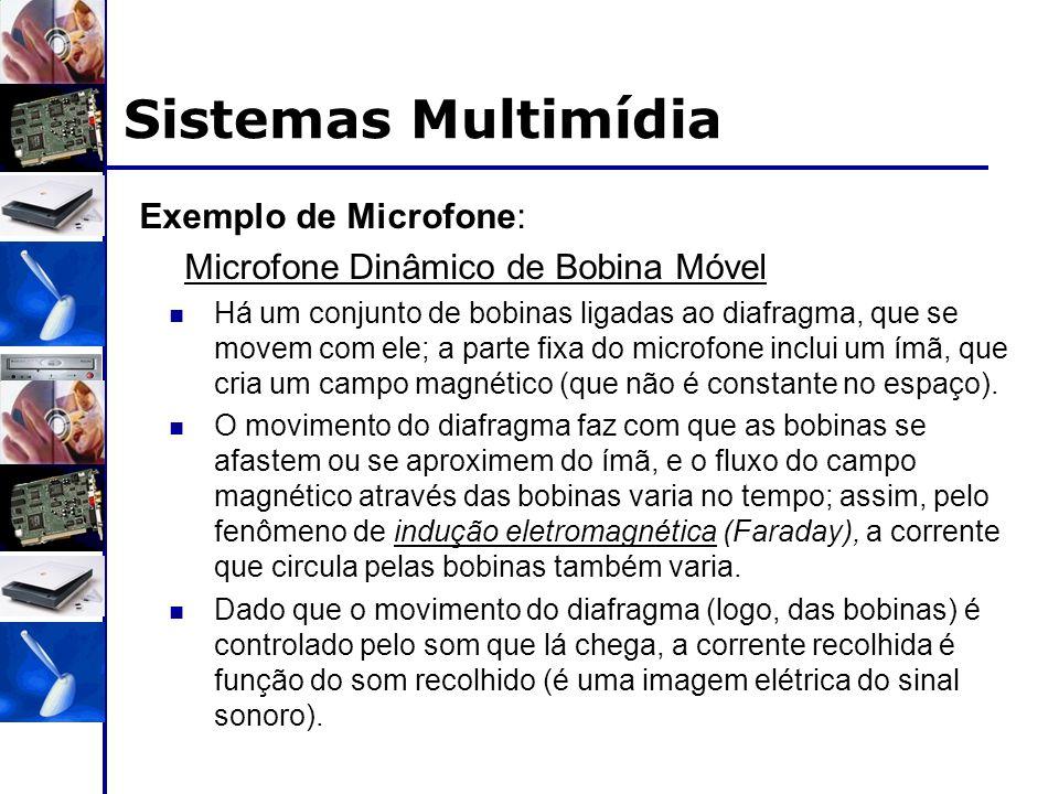 Exemplo de Microfone: Microfone Dinâmico de Bobina Móvel Há um conjunto de bobinas ligadas ao diafragma, que se movem com ele; a parte fixa do microfo