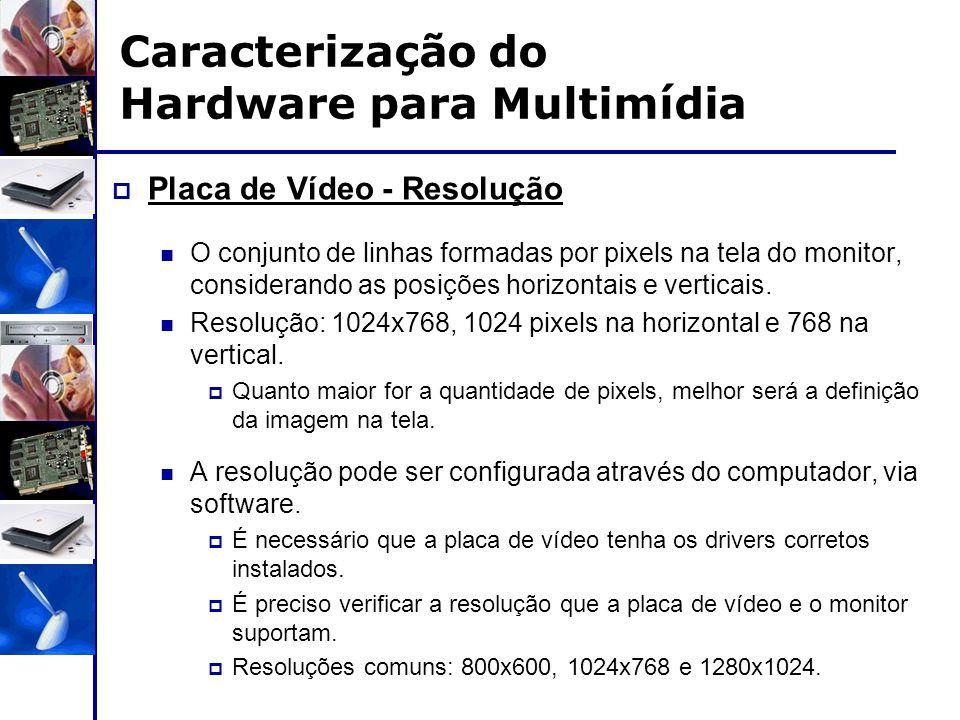 Caracterização do Hardware para Multimídia  Placa de Vídeo - Resolução O conjunto de linhas formadas por pixels na tela do monitor, considerando as p
