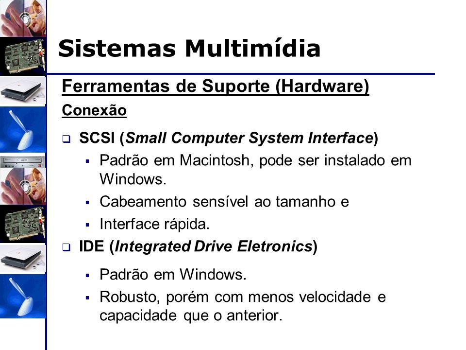 Ferramentas de Suporte (Hardware) Conexão  SCSI (Small Computer System Interface)  Padrão em Macintosh, pode ser instalado em Windows.  Cabeamento