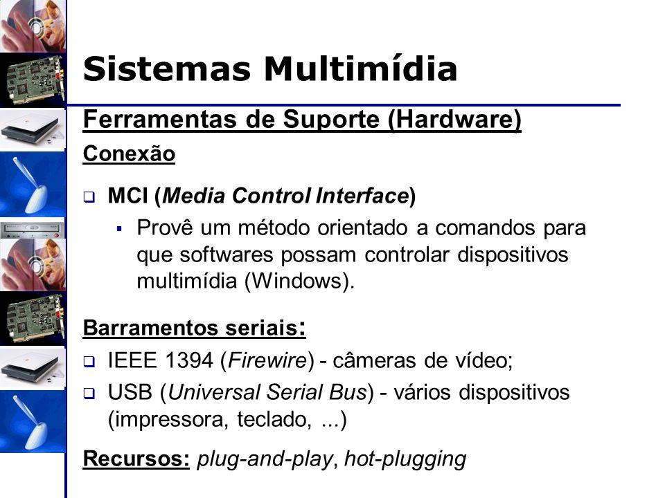 Ferramentas de Suporte (Hardware) Conexão  MCI (Media Control Interface)  Provê um método orientado a comandos para que softwares possam controlar d