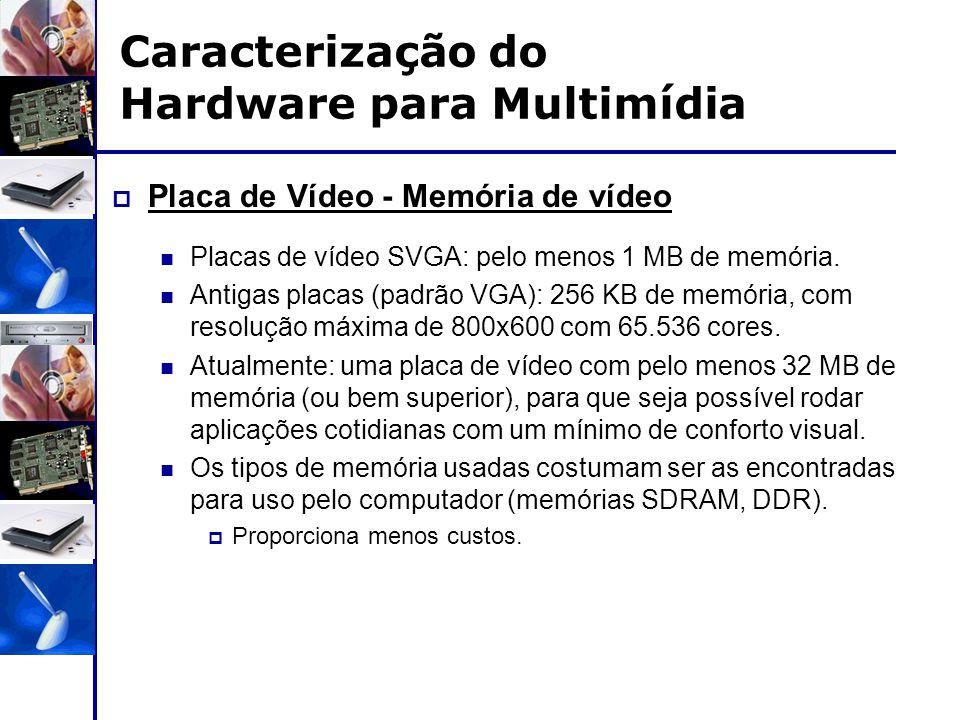 Caracterização do Hardware para Multimídia  Placa de Vídeo - Memória de vídeo Placas de vídeo SVGA: pelo menos 1 MB de memória. Antigas placas (padrã