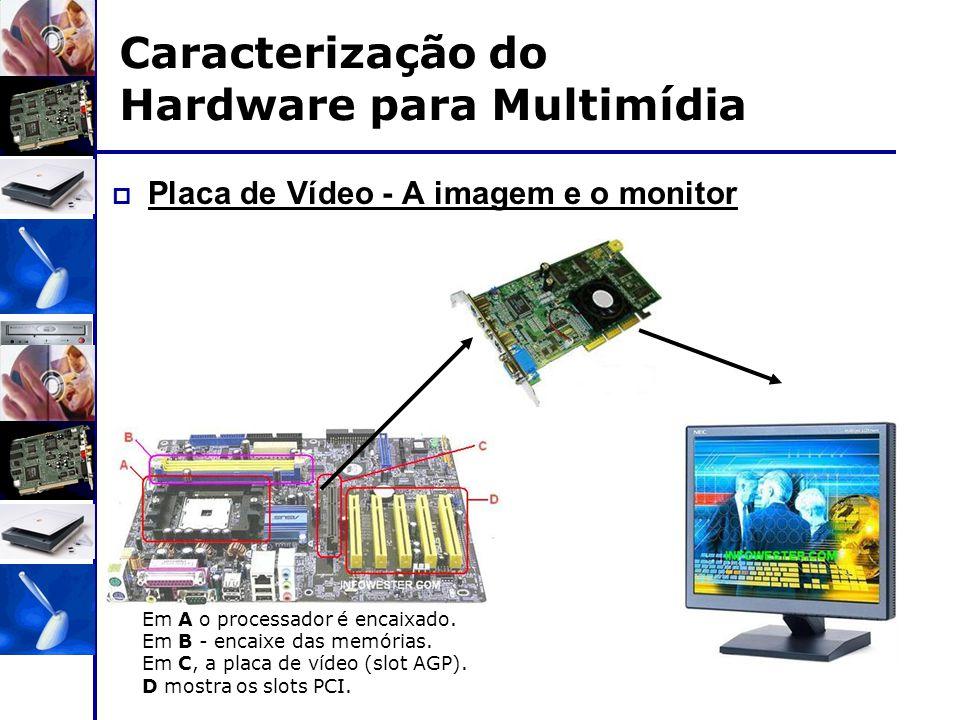  Placa de Vídeo - A imagem e o monitor Em A o processador é encaixado. Em B - encaixe das memórias. Em C, a placa de vídeo (slot AGP). D mostra os sl
