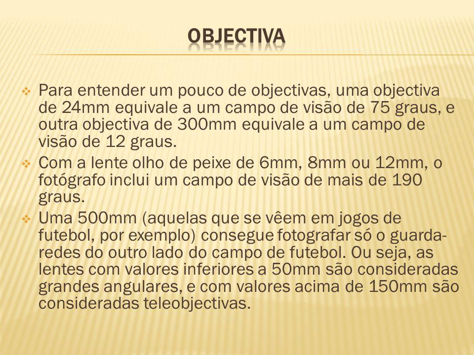  Para entender um pouco de objectivas, uma objectiva de 24mm equivale a um campo de visão de 75 graus, e outra objectiva de 300mm equivale a um campo de visão de 12 graus.