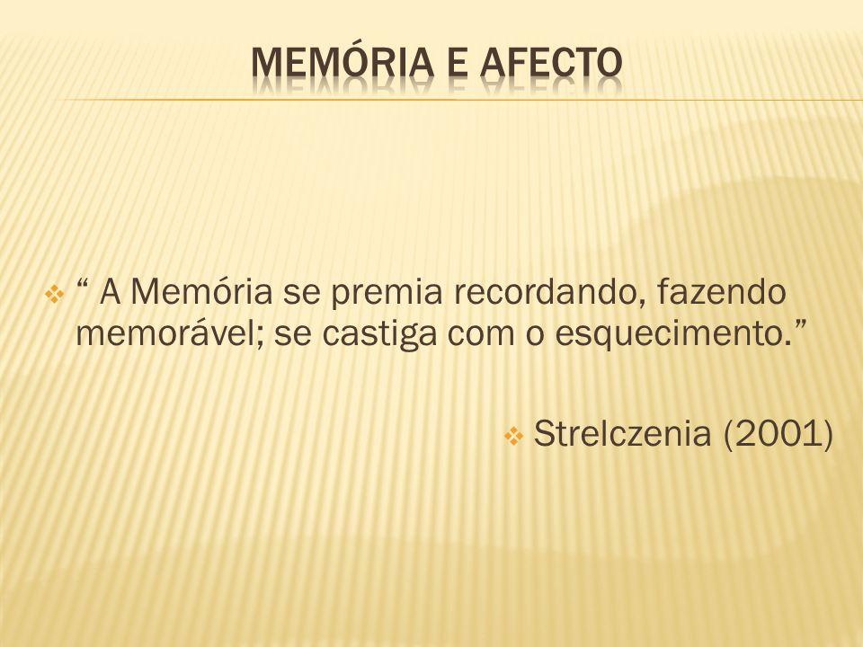 A Memória se premia recordando, fazendo memorável; se castiga com o esquecimento.  Strelczenia (2001)