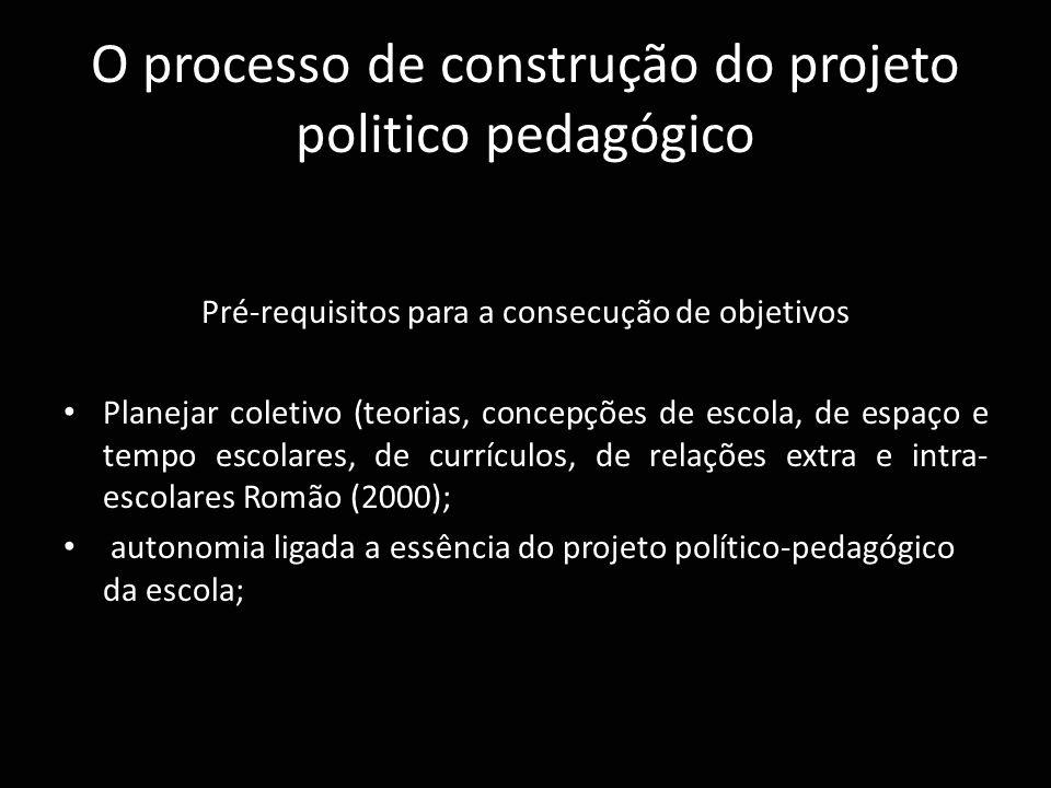 O processo de construção do projeto politico pedagógico Pré-requisitos para a consecução de objetivos Planejar coletivo (teorias, concepções de escola
