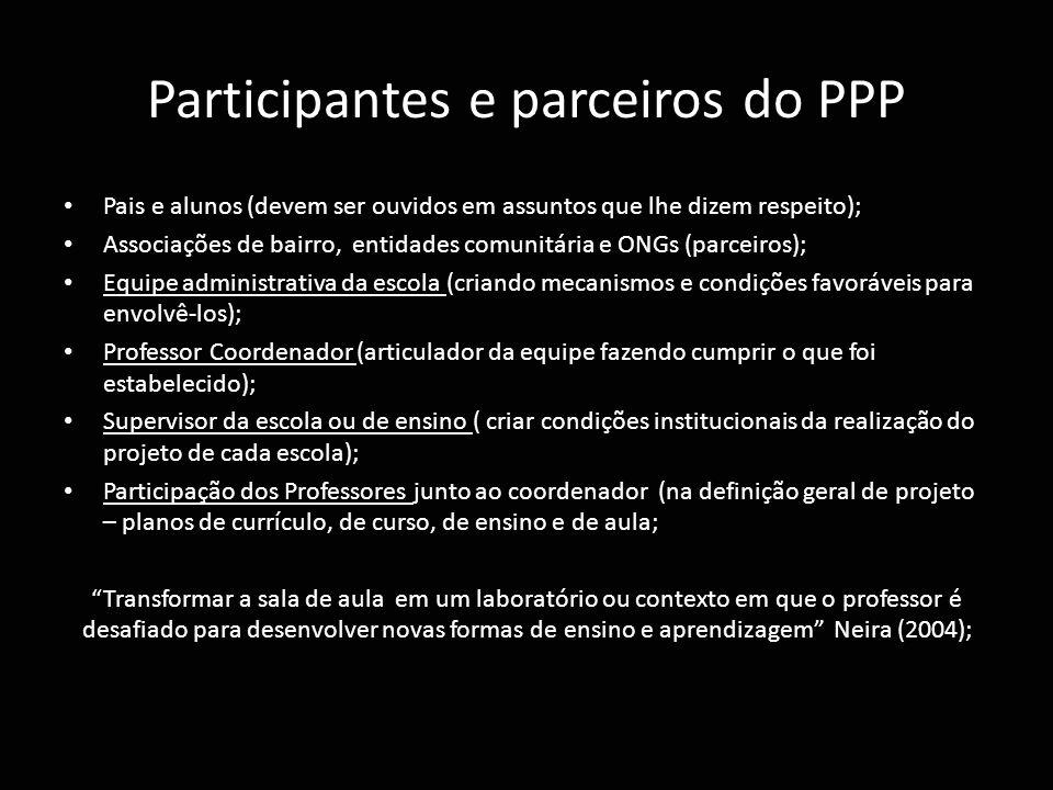 Participantes e parceiros do PPP Pais e alunos (devem ser ouvidos em assuntos que lhe dizem respeito); Associações de bairro, entidades comunitária e