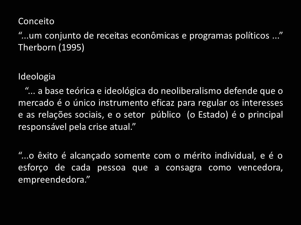 "Conceito ""...um conjunto de receitas econômicas e programas políticos..."" Therborn (1995) Ideologia ""... a base teórica e ideológica do neoliberalismo"