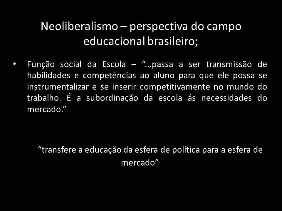 """Neoliberalismo – perspectiva do campo educacional brasileiro; Função social da Escola – """"...passa a ser transmissão de habilidades e competências ao a"""