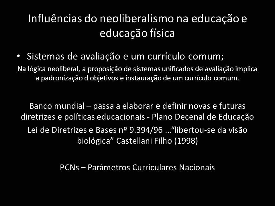 Influências do neoliberalismo na educação e educação física Sistemas de avaliação e um currículo comum; Na lógica neoliberal, a proposição de sistemas