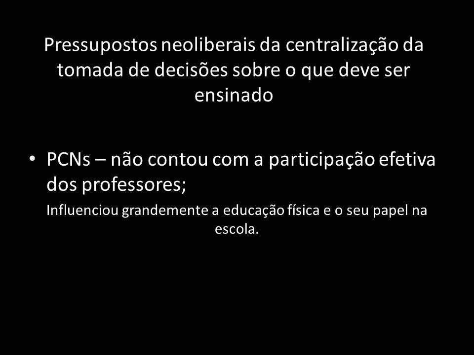 Pressupostos neoliberais da centralização da tomada de decisões sobre o que deve ser ensinado PCNs – não contou com a participação efetiva dos profess