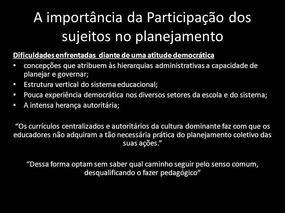 A importância da Participação dos sujeitos no planejamento Dificuldades enfrentadas diante de uma atitude democrática concepções que atribuem às hiera