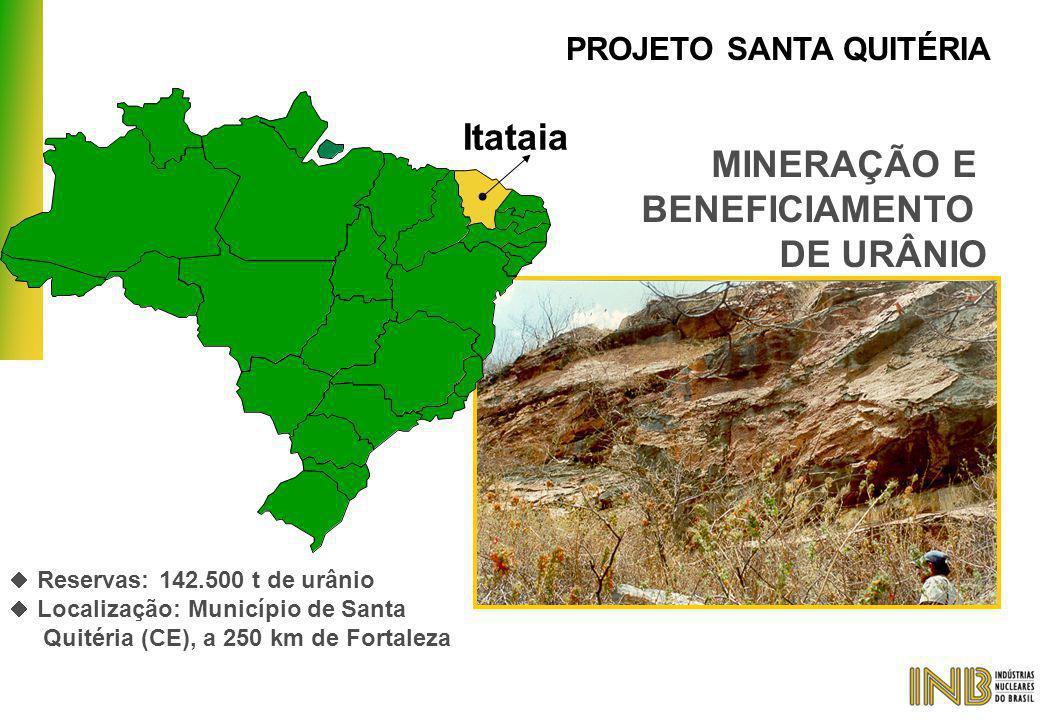 MINERAÇÃO E BENEFICIAMENTO DE URÂNIO PROJETO SANTA QUITÉRIA Itataia  Reservas: 142.500 t de urânio  Localização: Município de Santa Quitéria (CE), a