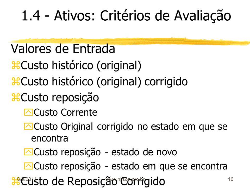 10 1.4 - Ativos: Critérios de Avaliação Valores de Entrada zCusto histórico (original) zCusto histórico (original) corrigido zCusto reposição yCusto C