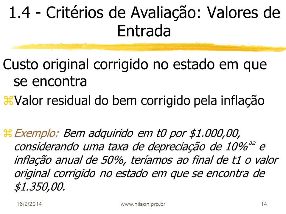 14 1.4 - Critérios de Avaliação: Valores de Entrada Custo original corrigido no estado em que se encontra zValor residual do bem corrigido pela inflaç