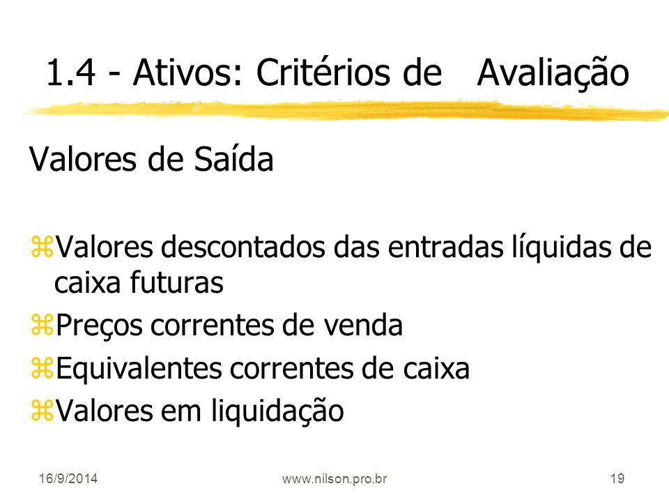 19 1.4 - Ativos: Critérios de Avaliação Valores de Saída zValores descontados das entradas líquidas de caixa futuras zPreços correntes de venda zEquiv