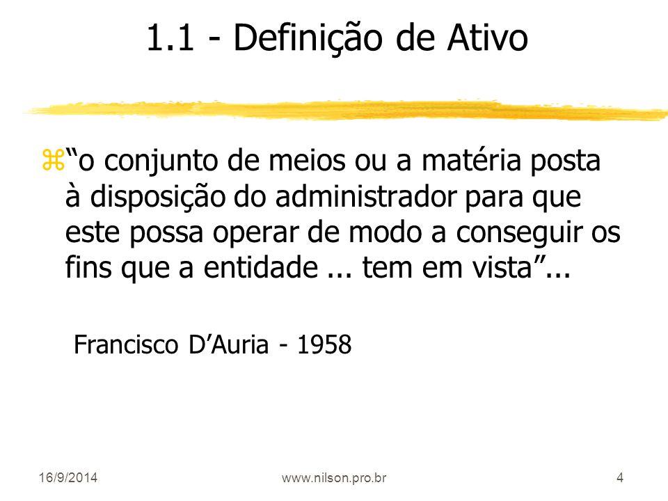 """4 1.1 - Definição de Ativo z""""o conjunto de meios ou a matéria posta à disposição do administrador para que este possa operar de modo a conseguir os fi"""