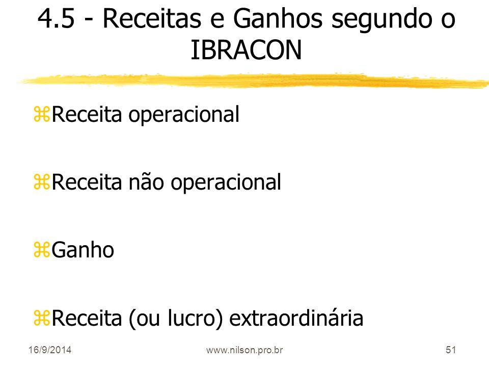 51 4.5 - Receitas e Ganhos segundo o IBRACON zReceita operacional zReceita não operacional zGanho zReceita (ou lucro) extraordinária 16/9/2014www.nils