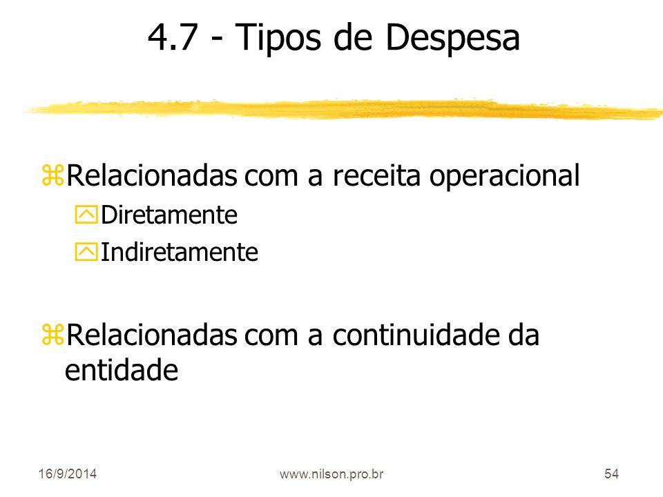 54 4.7 - Tipos de Despesa zRelacionadas com a receita operacional yDiretamente yIndiretamente zRelacionadas com a continuidade da entidade 16/9/2014ww