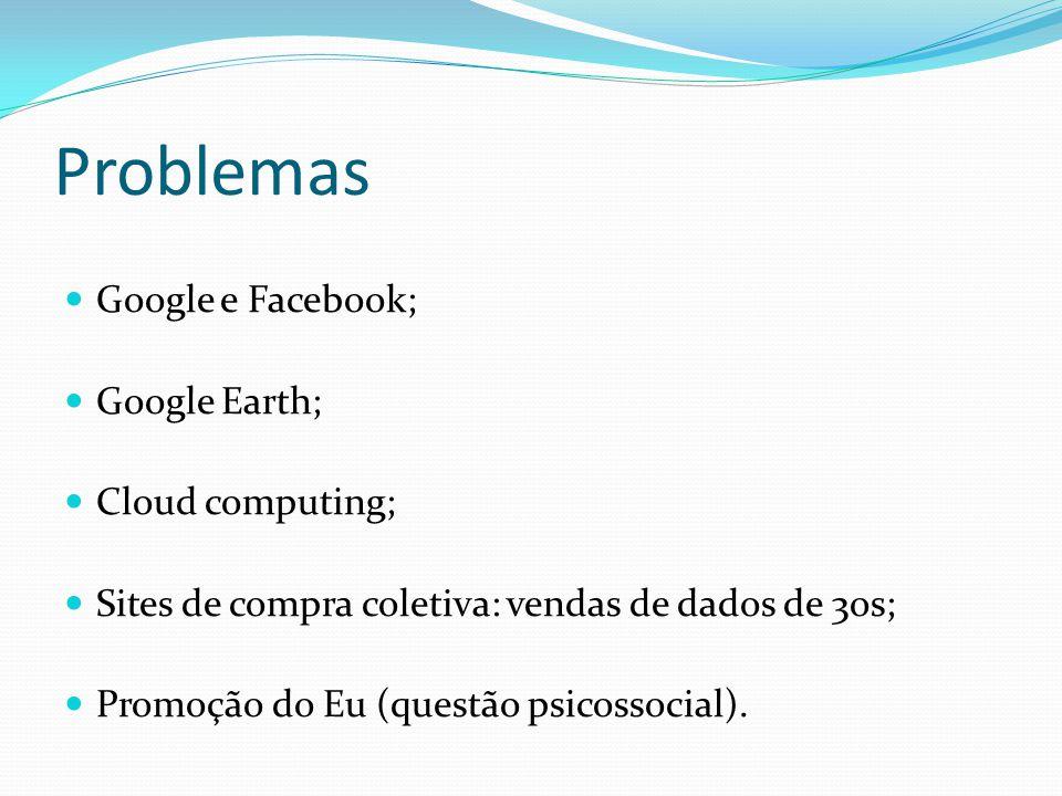 Problemas Google e Facebook; Google Earth; Cloud computing; Sites de compra coletiva: vendas de dados de 3os; Promoção do Eu (questão psicossocial).