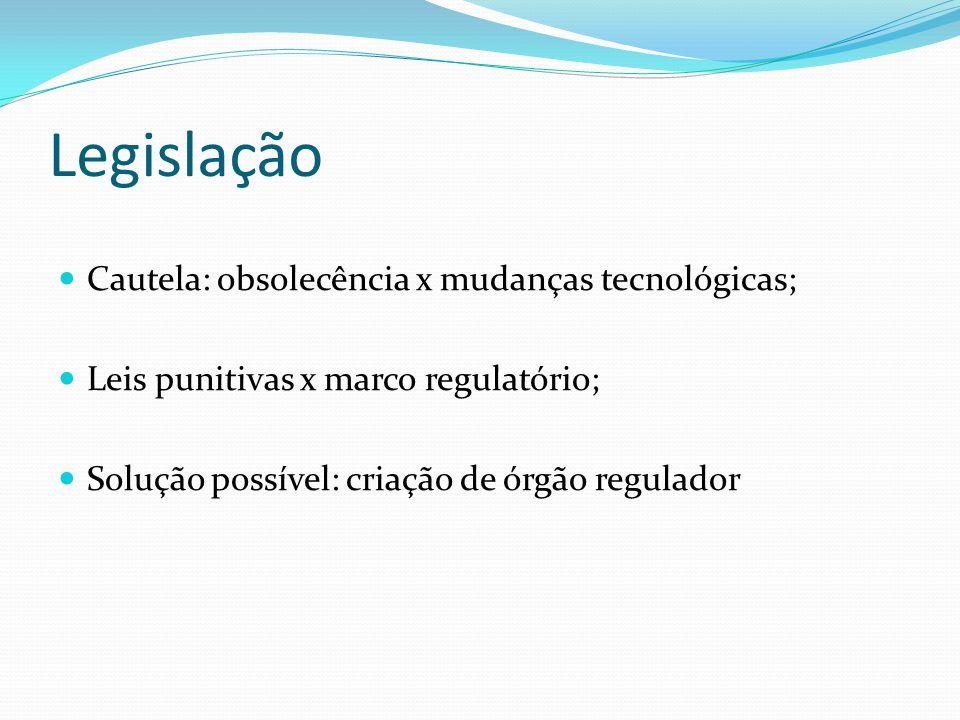 Legislação Cautela: obsolecência x mudanças tecnológicas; Leis punitivas x marco regulatório; Solução possível: criação de órgão regulador