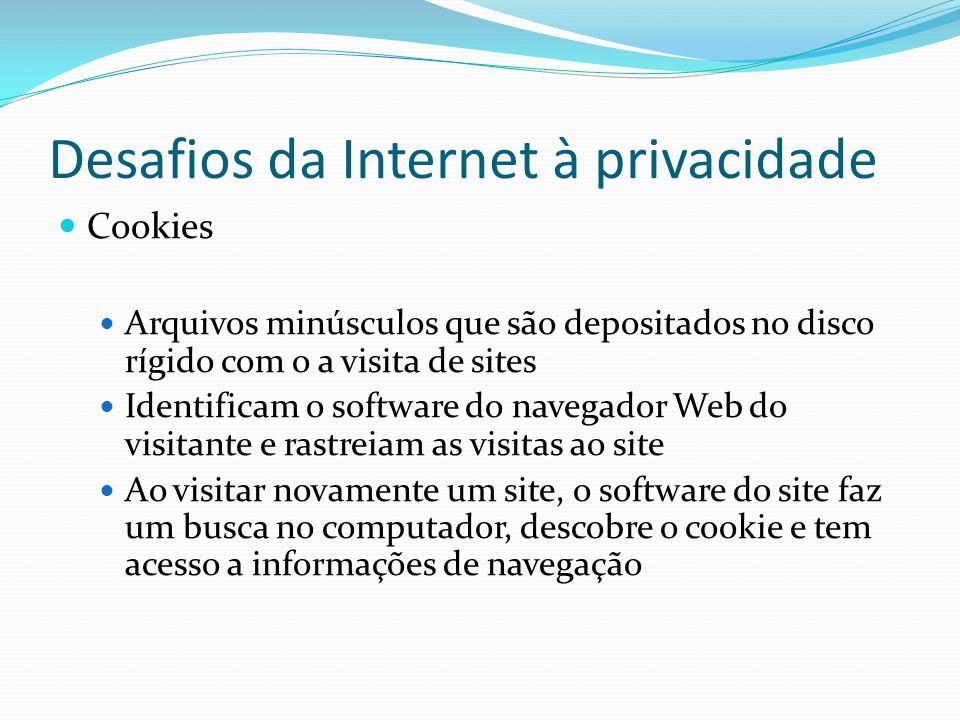 Desafios da Internet à privacidade Cookies Arquivos minúsculos que são depositados no disco rígido com o a visita de sites Identificam o software do navegador Web do visitante e rastreiam as visitas ao site Ao visitar novamente um site, o software do site faz um busca no computador, descobre o cookie e tem acesso a informações de navegação