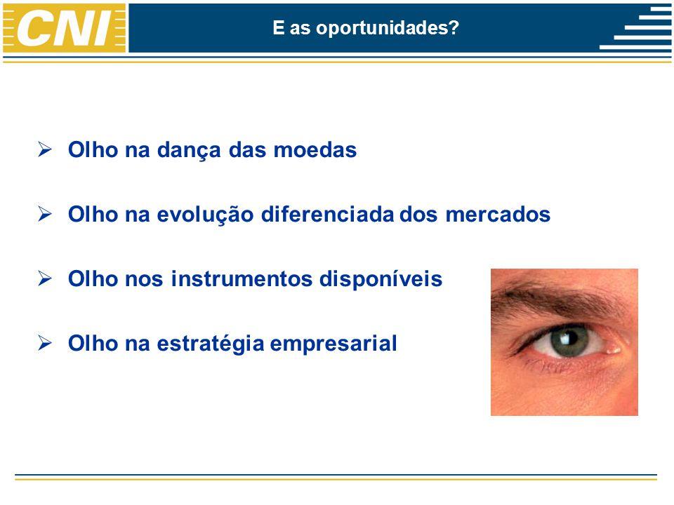  Olho na dança das moedas  Olho na evolução diferenciada dos mercados  Olho nos instrumentos disponíveis  Olho na estratégia empresarial E as oportunidades?
