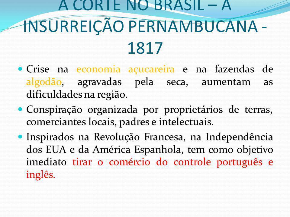 A CORTE NO BRASIL – A INSURREIÇÃO PERNAMBUCANA - 1817 Crise na economia açucareira e na fazendas de algodão, agravadas pela seca, aumentam as dificuld