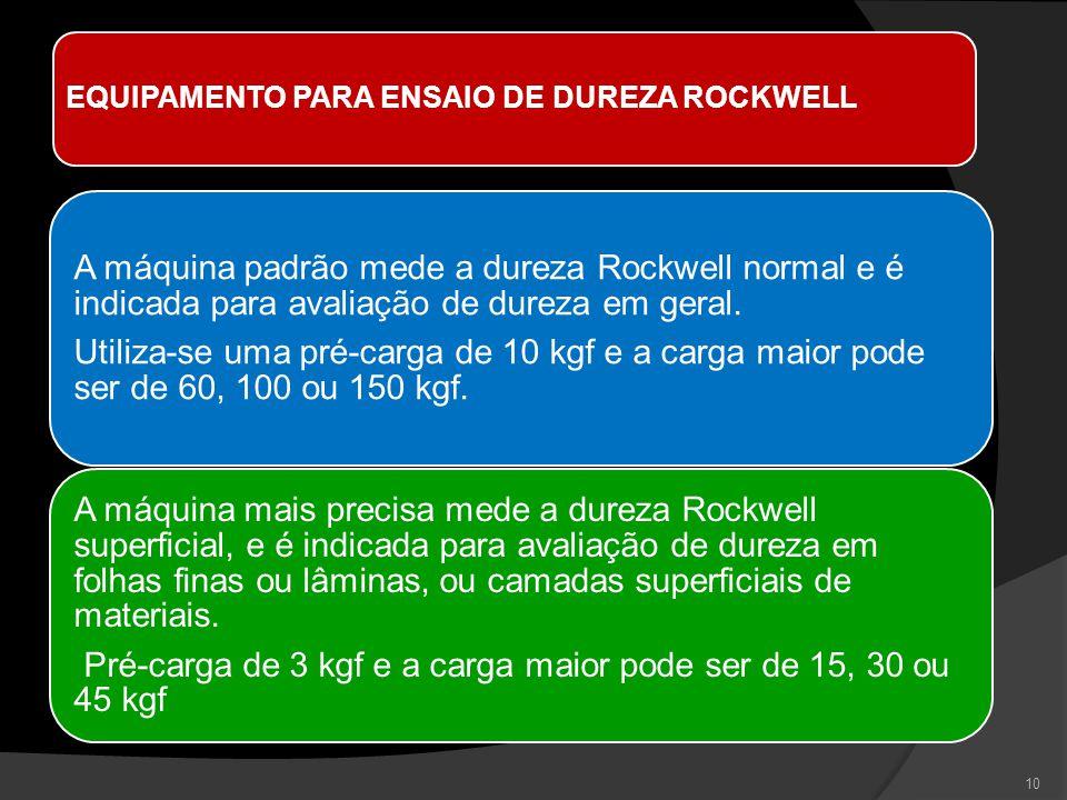 EQUIPAMENTO PARA ENSAIO DE DUREZA ROCKWELL A máquina padrão mede a dureza Rockwell normal e é indicada para avaliação de dureza em geral. Utiliza-se u