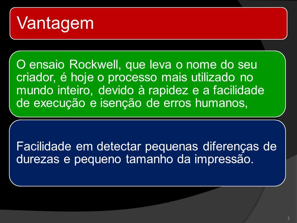 Vantagem O ensaio Rockwell, que leva o nome do seu criador, é hoje o processo mais utilizado no mundo inteiro, devido à rapidez e a facilidade de exec