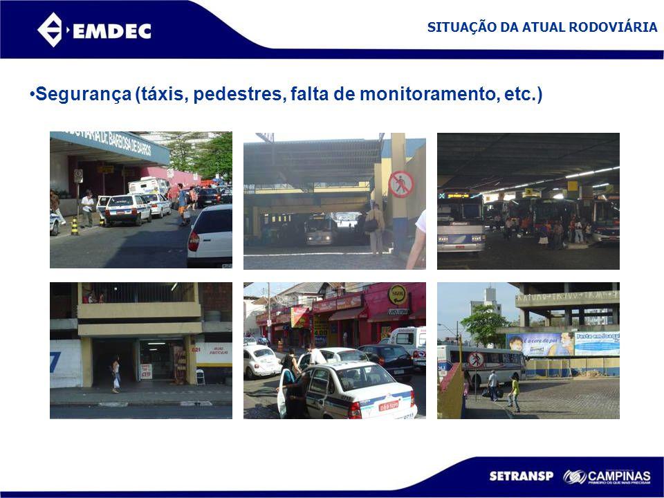 SITUAÇÃO DA ATUAL RODOVIÁRIA Segurança (táxis, pedestres, falta de monitoramento, etc.)