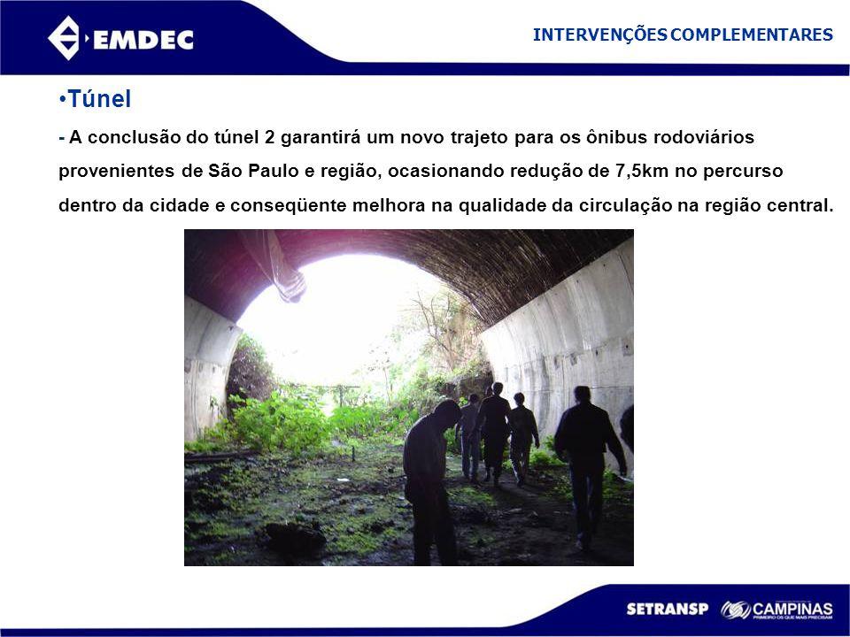 Túnel - A conclusão do túnel 2 garantirá um novo trajeto para os ônibus rodoviários provenientes de São Paulo e região, ocasionando redução de 7,5km n