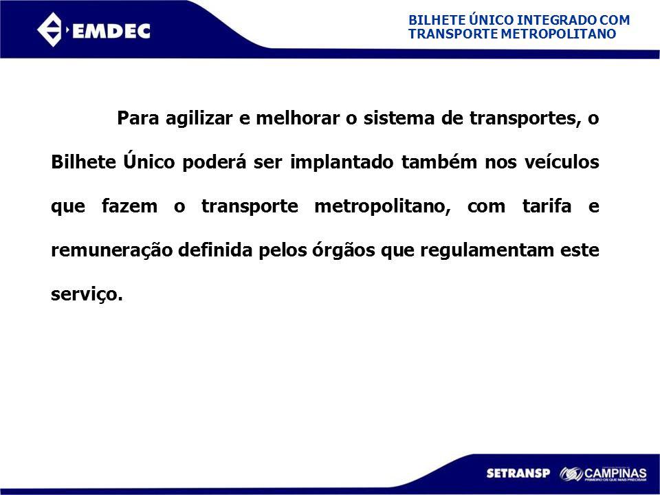 BILHETE ÚNICO INTEGRADO COM TRANSPORTE METROPOLITANO Para agilizar e melhorar o sistema de transportes, o Bilhete Único poderá ser implantado também n