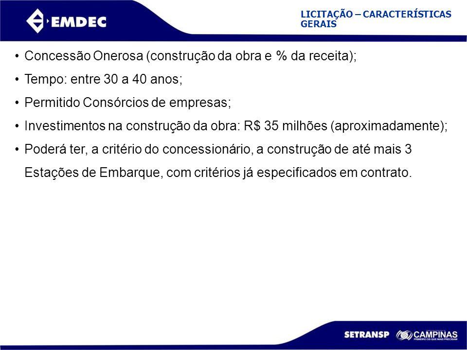 LICITAÇÃO – CARACTERÍSTICAS GERAIS Concessão Onerosa (construção da obra e % da receita); Tempo: entre 30 a 40 anos; Permitido Consórcios de empresas;