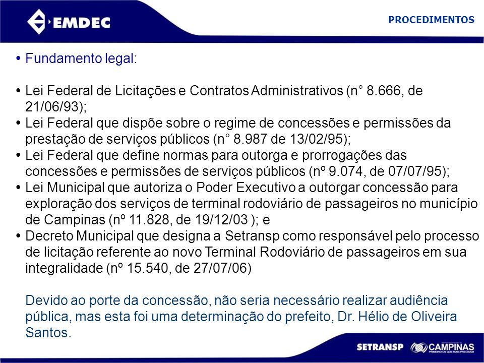 PROCEDIMENTOS  Fundamento legal:  Lei Federal de Licitações e Contratos Administrativos (n° 8.666, de 21/06/93);  Lei Federal que dispõe sobre o re