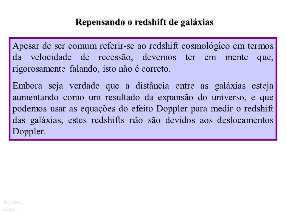 O Redshift Cosmológico Com a nova visão do universo em expansão, a explicação do redshift observado para as galáxias, com base no efeito Doppler, está