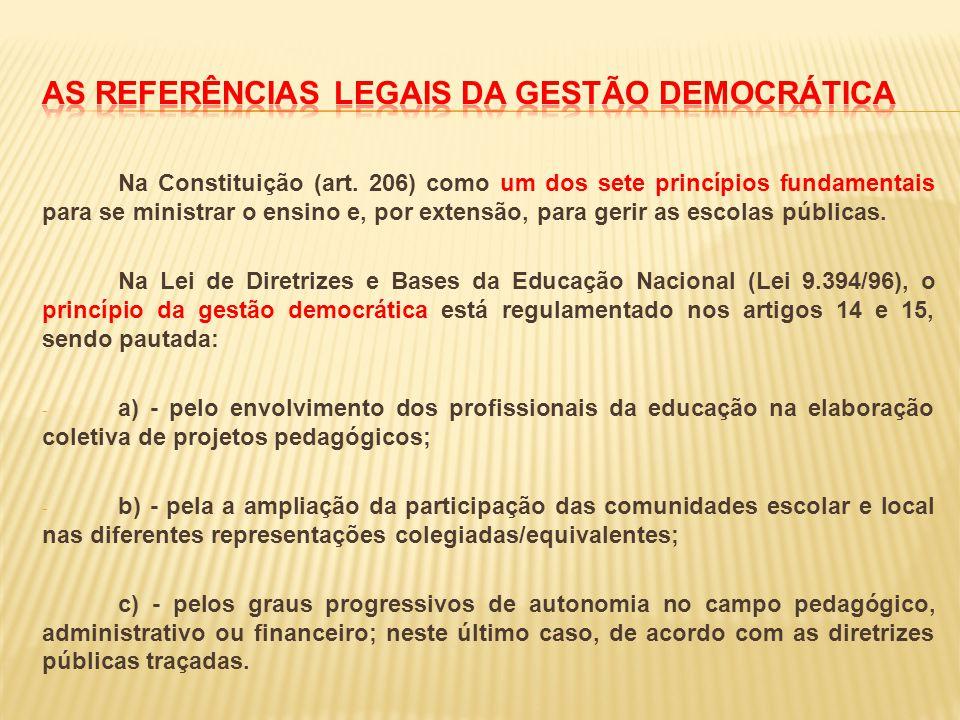 Na Constituição (art. 206) como um dos sete princípios fundamentais para se ministrar o ensino e, por extensão, para gerir as escolas públicas. Na Lei