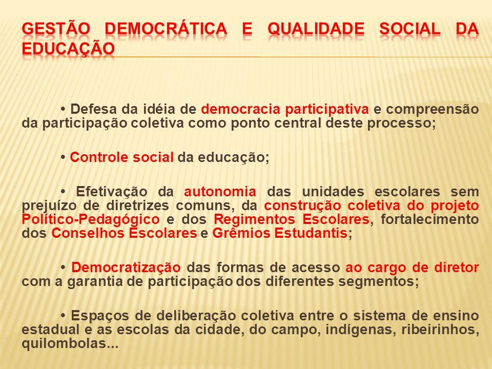 Defesa da idéia de democracia participativa e compreensão da participação coletiva como ponto central deste processo; Controle social da educação; Efe