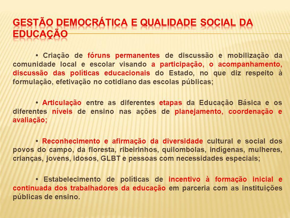 Criação de fóruns permanentes de discussão e mobilização da comunidade local e escolar visando a participação, o acompanhamento, discussão das polític