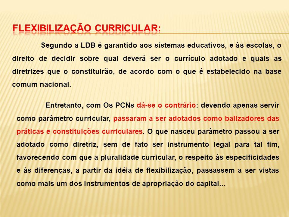 Segundo a LDB é garantido aos sistemas educativos, e às escolas, o direito de decidir sobre qual deverá ser o currículo adotado e quais as diretrizes