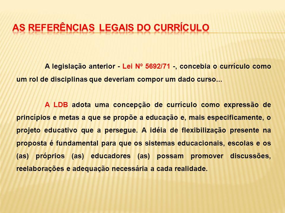 A legislação anterior - Lei Nº 5692/71 -, concebia o currículo como um rol de disciplinas que deveriam compor um dado curso... A LDB adota uma concepç