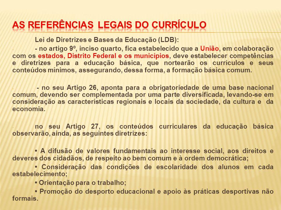 - Lei de Diretrizes e Bases da Educação (LDB): - - no artigo 9º, inciso quarto, fica estabelecido que a União, em colaboração com os estados, Distrito