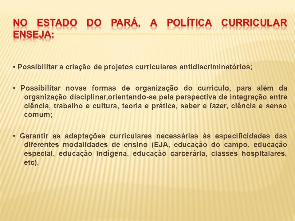 Possibilitar a criação de projetos curriculares antidiscriminatórios; Possibilitar novas formas de organização do currículo, para além da organização