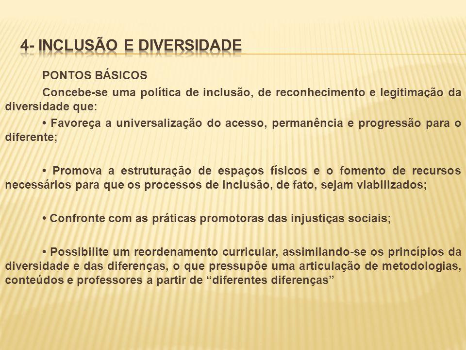 PONTOS BÁSICOS Concebe-se uma política de inclusão, de reconhecimento e legitimação da diversidade que: Favoreça a universalização do acesso, permanên