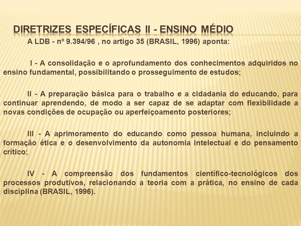 A LDB - nº 9.394/96, no artigo 35 (BRASIL, 1996) aponta: I - A consolidação e o aprofundamento dos conhecimentos adquiridos no ensino fundamental, pos