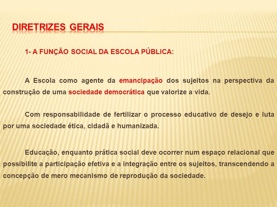 1- A FUNÇÃO SOCIAL DA ESCOLA PÚBLICA: A Escola como agente da emancipação dos sujeitos na perspectiva da construção de uma sociedade democrática que v
