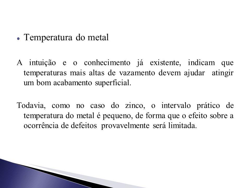 Temperatura do metal A intuição e o conhecimento já existente, indicam que temperaturas mais altas de vazamento devem ajudar atingir um bom acabamento superficial.