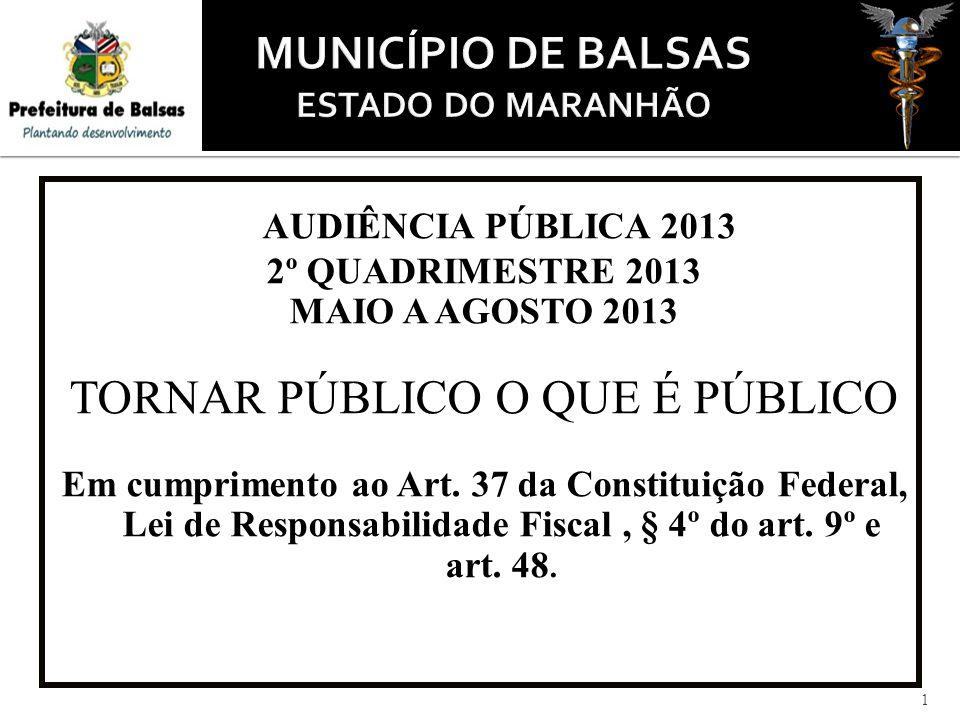 1 AUDIÊNCIA PÚBLICA 2013 2º QUADRIMESTRE 2013 MAIO A AGOSTO 2013 TORNAR PÚBLICO O QUE É PÚBLICO Em cumprimento ao Art.