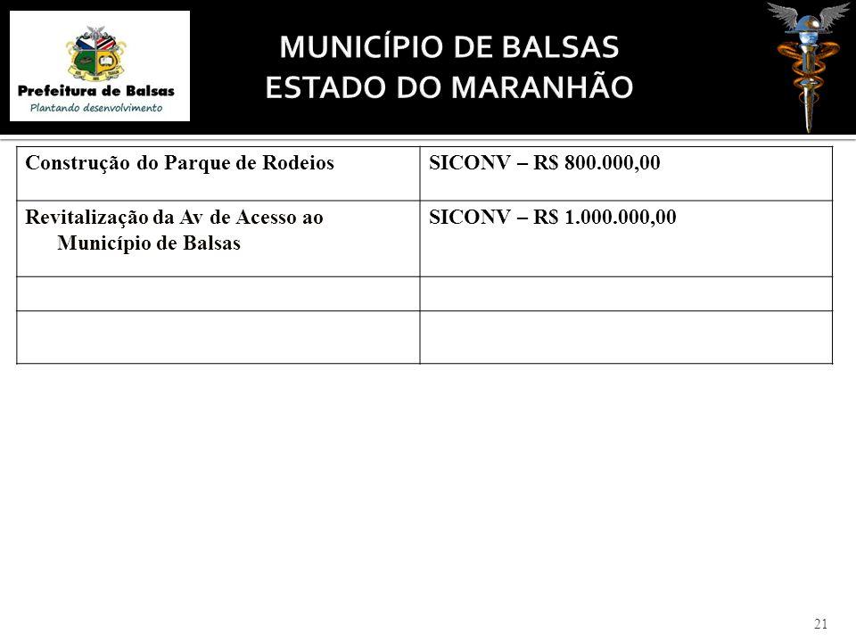 21 Construção do Parque de RodeiosSICONV – R$ 800.000,00 Revitalização da Av de Acesso ao Município de Balsas SICONV – R$ 1.000.000,00